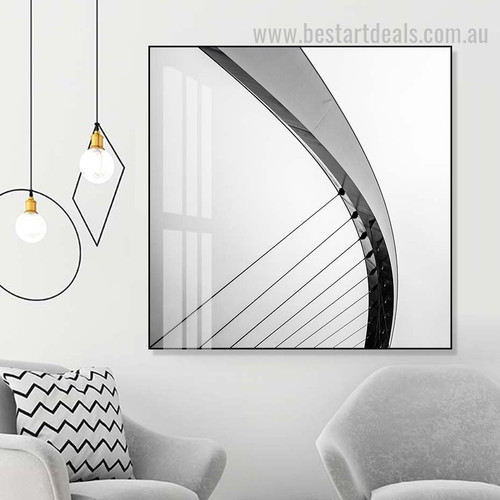Bridge Wire Abstract Architecture Vintage Framed Artwork Pic Canvas Print for Room Wall Garnish