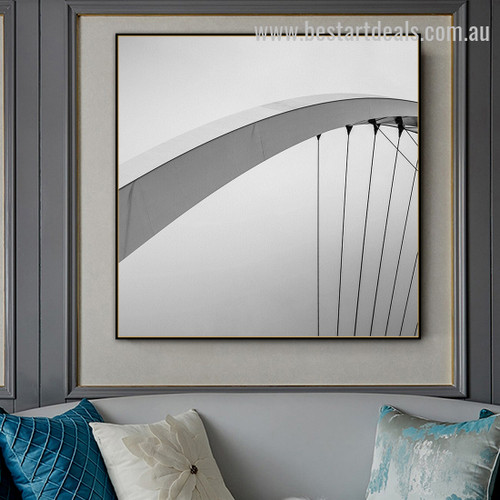 Suspension Bridge Abstract Architecture Vintage Framed Painting Photo Canvas Print for Room Wall Flourish