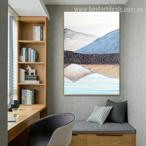 Blue Hill Abstract Nature Landscape Nordic Framed Painting Photo Canvas Print for Room Wall Flourish