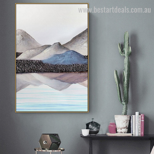 Rocky Hillside Abstract Landscape Nordic Modern Framed Painting Portrait Canvas Print for Room Wall Garniture