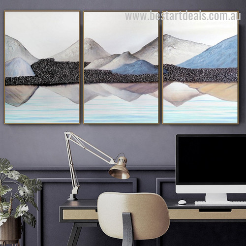 Mountains And Sea Abstract Nature Watercolor Nordic Framed Painting Photo Canvas Print for Room Wall Garniture