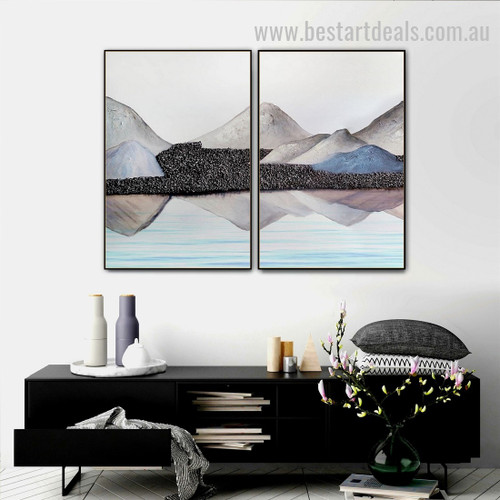 Seamount Abstract Landscape Watercolor Nordic Framed Painting Photo Canvas Print for Room Wall Garnish