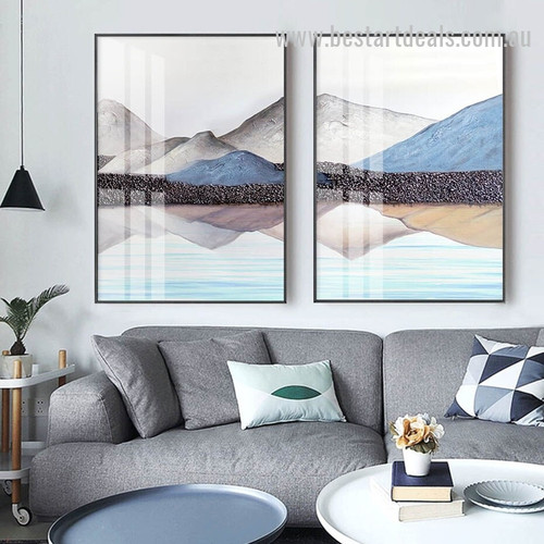 Colorific Mountains Abstract Landscape Watercolor Nordic Framed Painting Pic Canvas Print for Room Wall Molding