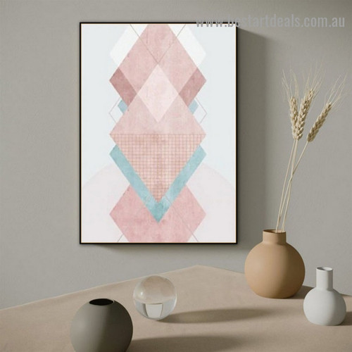 Geometric Triangle Abstract Modern Framed Artwork Portrait Canvas Print for Room Wall Décor