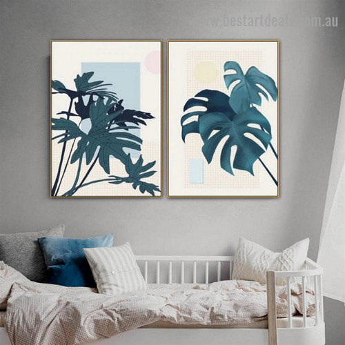 Monstera Leaflet Botanical Scandinavian Framed Artwork Portrait Canvas Print for Room Wall Décor