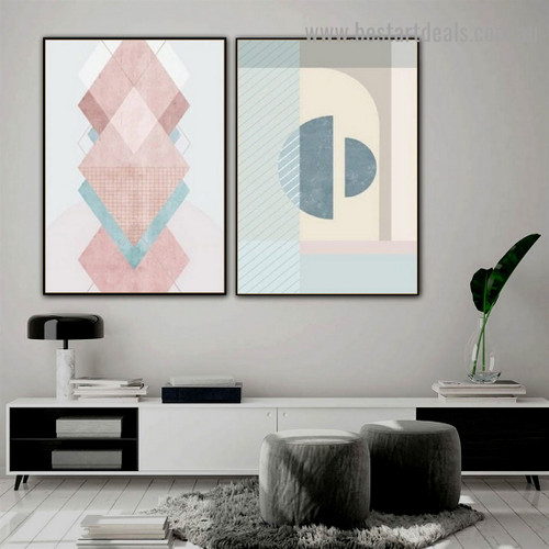 Hemisphere Abstract Minimalist Scandinavian Framed Painting Picture Canvas Print for Room Wall Garnish