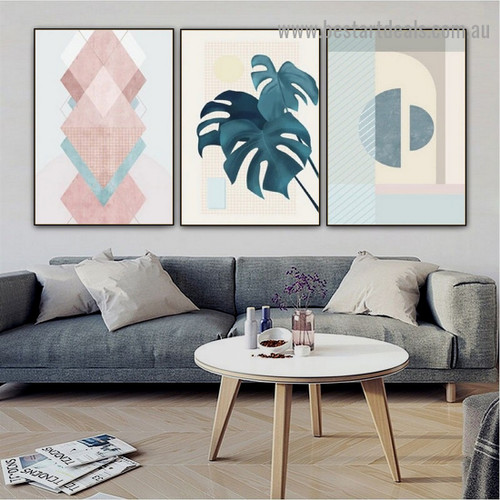 Geometrical Triangle Shape Abstract Modern Framed Artwork Portrait Canvas Print for Room Wall Adornment