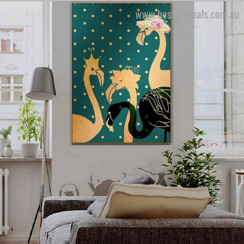 Golden Flamingo Bird Scandinavian Framed Artwork Photo Canvas Print for Room Wall Décor