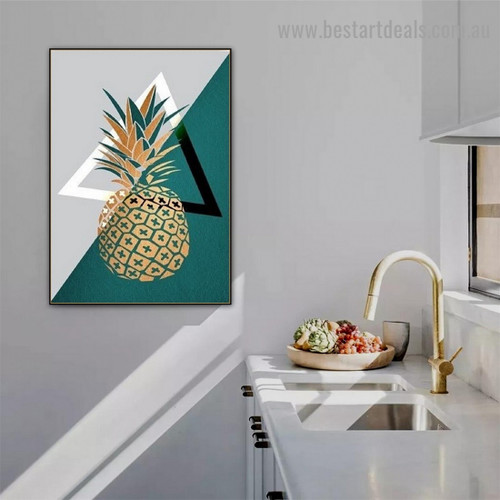 Golden Pineapple Fruit Food And Beverage Nordic Framed Artwork Picture Canvas Print for Room Wall Decor