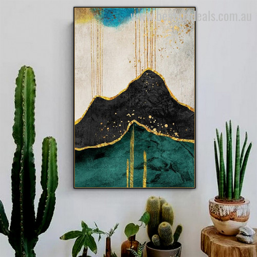 Auriferous Saliva Abstract Nature Scandinavian Watercolor Framed Portrayal Pic Canvas Print for Room Wall Arrangement