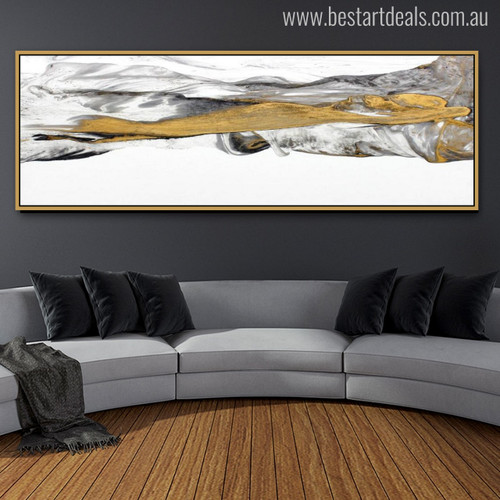 Real Mountains Abstract Panoramic Modern Watercolor Painting Canvas Print for Living Room Wall Art