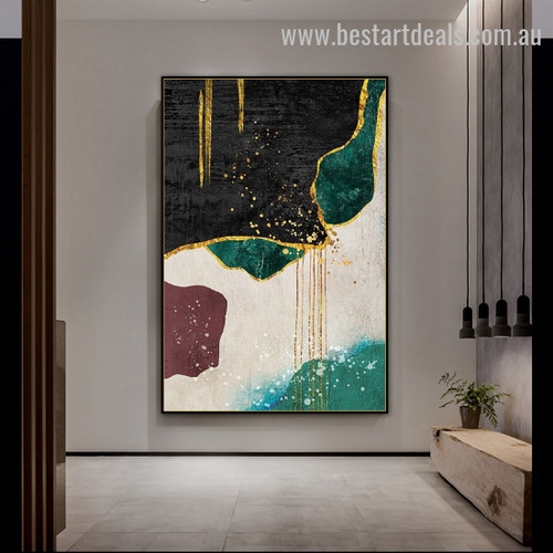 Colorific Paint Art Abstract Scandinavian Watercolor Framed Portrayal Photo Canvas Print for Room Wall Garnish