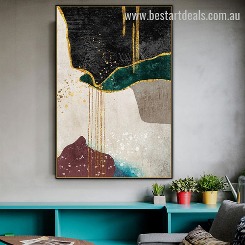 Golden Green Abstract Scandinavian Watercolor Framed Painting Picture Canvas Print for Room Wall Decor
