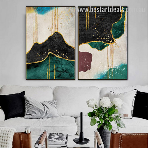 Black Mountains Abstract Nature Scandinavian Watercolor Framed Artwork Photo Canvas Print For Room Wall Decoration