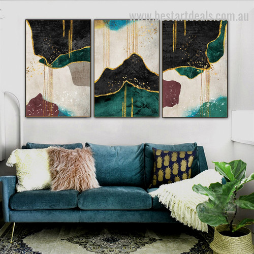 Aurous Plating Abstract Nature Scandinavian Watercolor Framed Painting Photo Canvas Print for Room Wall Decor