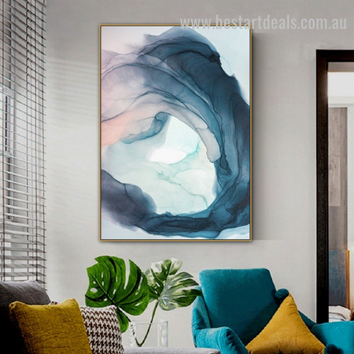 Nordic Blue Smog Abstract Watercolor Modern Framed Painting Photo Canvas Print for Room Wall Garnish