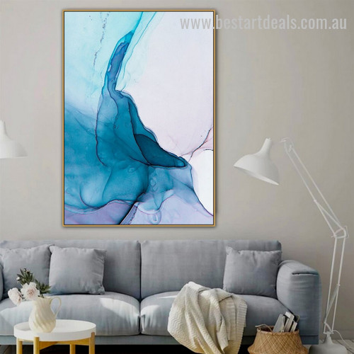 Fluid Marble Texture Abstract Watercolor Nordic Framed Painting Image Canvas Print for Room Wall Onlay