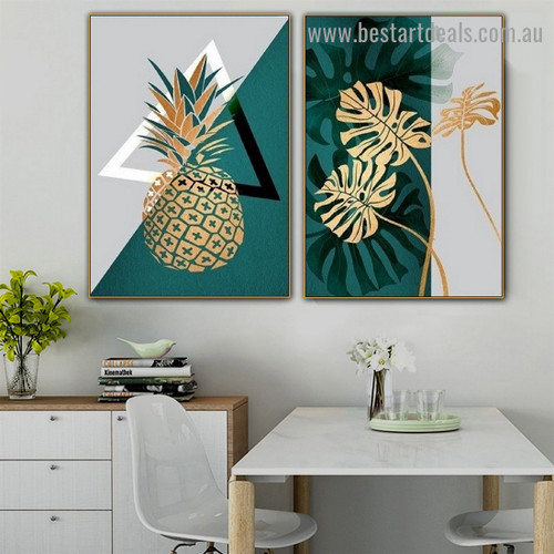 Golden Leaves Abstract Botanical Scandinavian Framed Artwork Portrait Canvas Print for Room Wall Décor