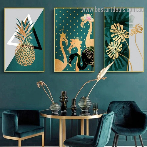 Dark Green Ananas Food And Beverage Nordic Framed Artwork Picture Canvas Print for Room Wall Décor