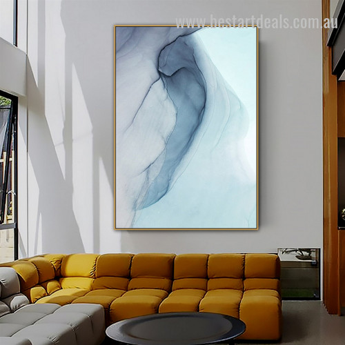 Blue Strifes Abstract Watercolor Nordic Framed Artwork Picture Canvas Print for Room Wall Arrangement