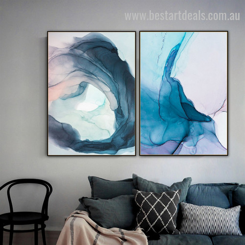 Indigo Dye Abstract Watercolor Nordic Framed Artwork Picture Canvas Print for Room Wall Flourish