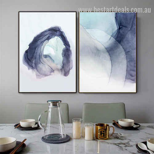 Cerulean Splash Abstract Watercolor Nordic Framed Artwork Image Canvas Print for Room Wall Decoration