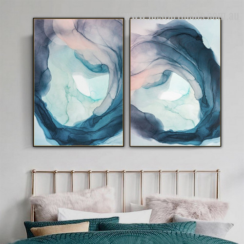 Red Blue Plod Abstract Watercolor Nordic Framed Painting Image Canvas Print for Room Wall Garnish