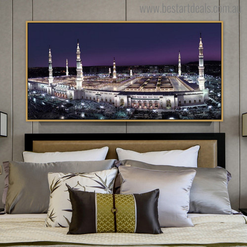 Al Masjid An Nabawī Arabic Religious Modern Painting Canvas Print for Bedroom Decor