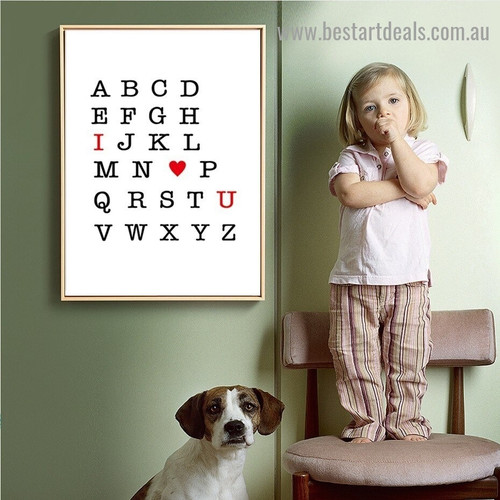 Love You Abc Kids Typography Modern Framed Artwork Portrait Canvas Print for Room Wall Ornament