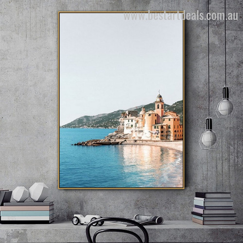 Camogli Town Cityscape Landscape Modern Framed Artwork Portrait Canvas Print for Room Wall Decoration
