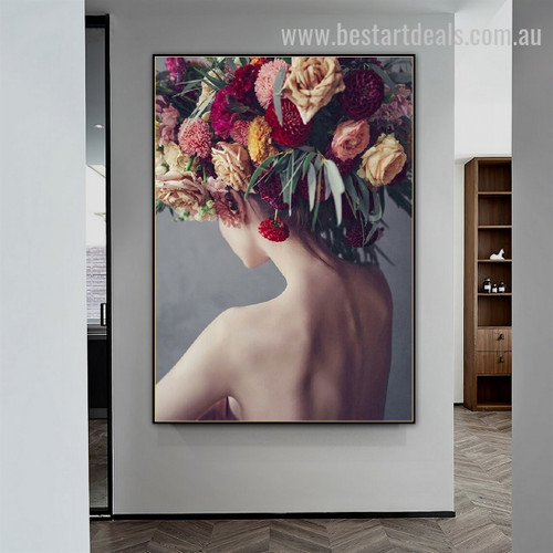 Floral Head Abstract Botanical Nordic Framed Painting Picture Canvas Print for Room Wall Decoration
