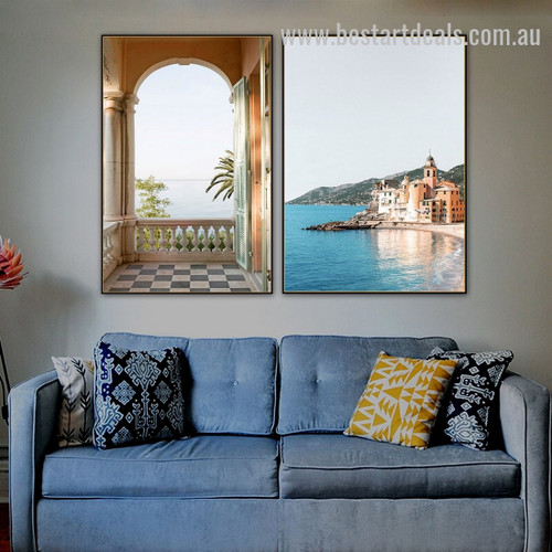 Camogli City Nature Landscape Modern Framed Artwork Pic Canvas Print for Room Wall Arrangement