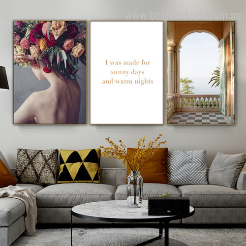 Colorific Floral Wreath Abstract Landscape Typography Modern Framed Painting Pic Canvas Print for Room Wall Garniture