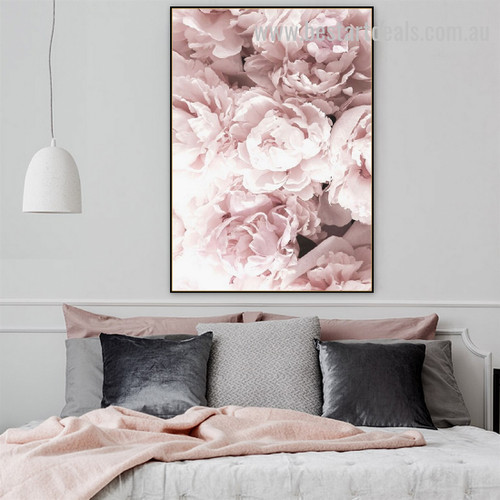 Pink Peony Flowers Abstract Botanical Scandinavian Framed Artwork Photo Canvas Print for Room Wall Onlay
