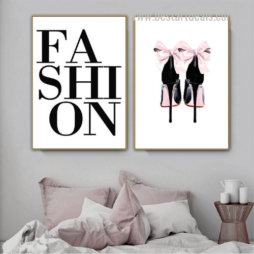 Fashion Heels Abstract Typography Nordic Framed Painting Image Canvas Print for Room Wall Decor