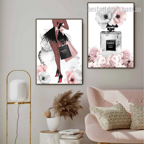 Perfume Bags Contemporary Botanical Nordic Framed Painting Pic Canvas Print for Room Wall Arrangement