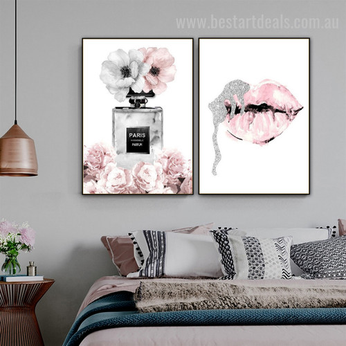 Perfume Lips Contemporary Modern Nordic Framed Painting Photo Canvas Print for Room Wall Garniture