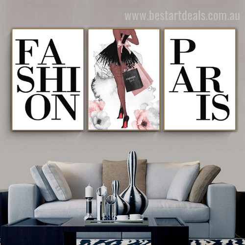 Paris Fashion Handbags Abstract Typography Nordic Framed Artwork Photo Canvas Print for Room Wall Garnish