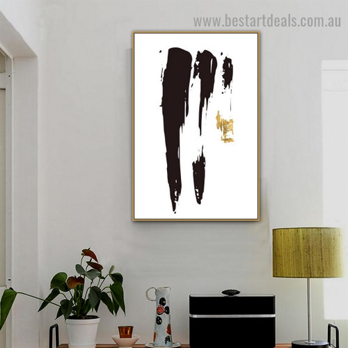 Black Golden Modern Abstract Artwork Photo Canvas Print for Room Wall Ornament