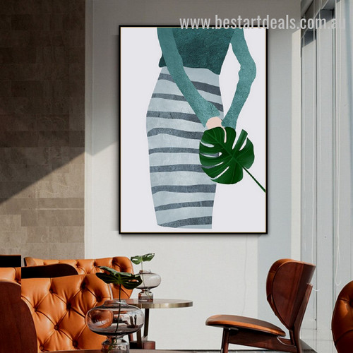 Green Girl Abstract Figure Minimalist Nordic Framed Painting Picture Canvas Print for Room Wall Drape