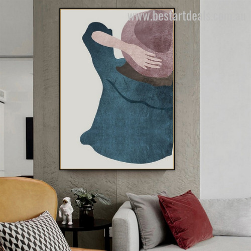 Brown Hat Lady Abstract Figure Minimalist Nordic Framed Painting Photo Canvas Print for Room Wall Adornment