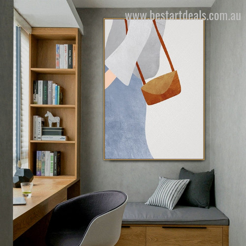 Shoulder Bag Abstract Figure Minimalist Nordic Framed Artwork Picture Canvas Print for Room Wall Flourish