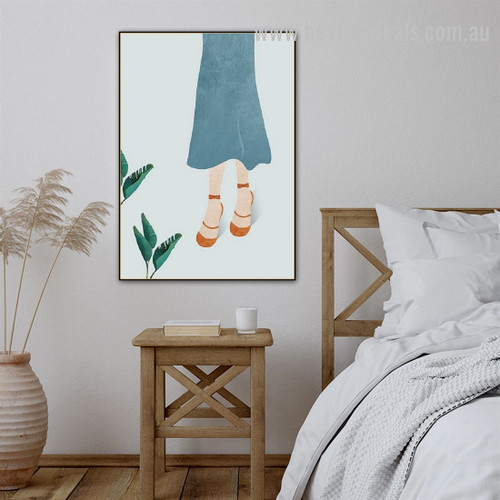 Flip Flops Abstract Figure Minimalist Nordic Framed Painting Image Canvas Print for Room Wall Flourish