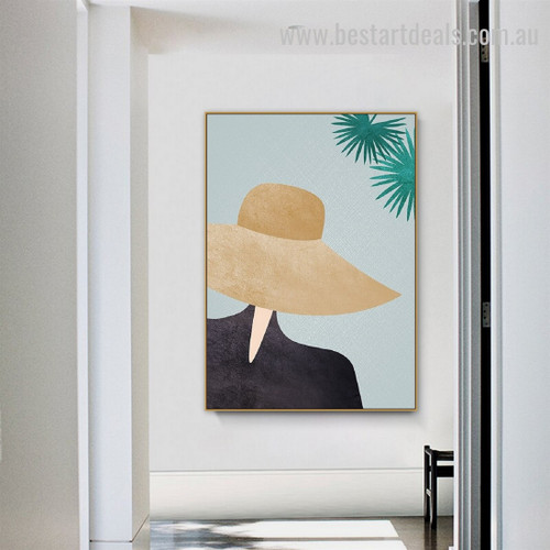 Hat Girl Abstract Figure Minimalist Nordic Framed Painting Image Canvas Print for Room Wall Decoration