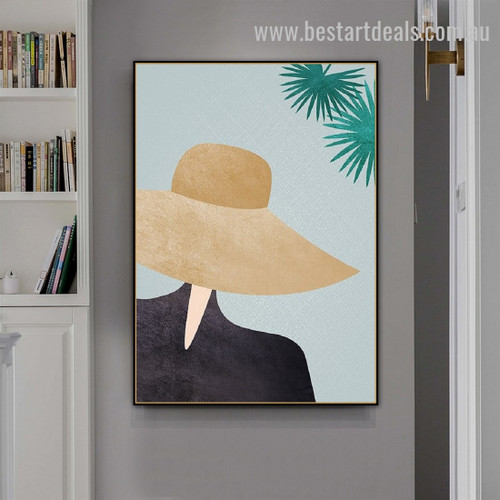 Hat Girl Abstract Figure Minimalist Nordic Framed Painting Photo Canvas Print for Room Wall Ornamentation