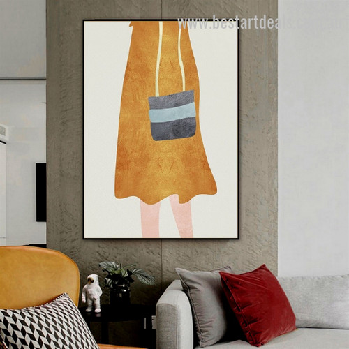 Black Pouch Abstract Figure Minimalist Nordic Framed Painting Picture Canvas Print for Room Wall Onlay