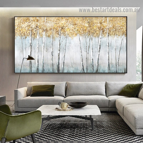 Golden Leaflet Botanical Modern Abstract Artwork Picture Canvas Print for Room Wall Décor