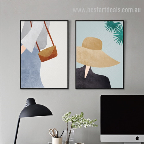 Tote Millinery Abstract Figure Modern Framed Artwork Photo Canvas Print for Room Wall Garniture