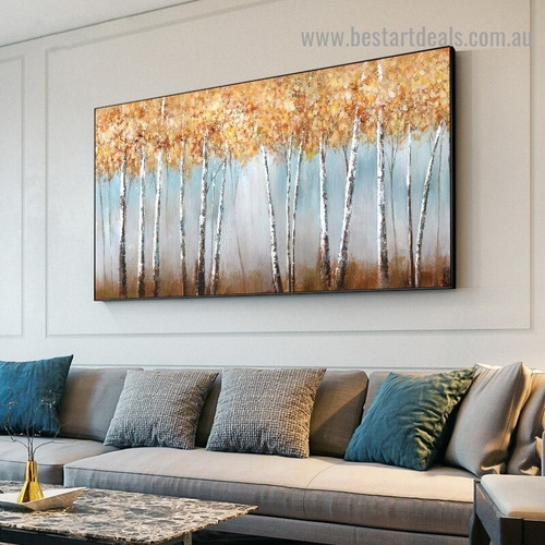 Dry Leaves Forest Botanical Modern Abstract Artwork Picture Canvas Print for Room Wall Décor
