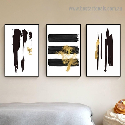 Noir Brush Design Modern Abstract Artwork Picture Canvas Print for Room Wall Décor